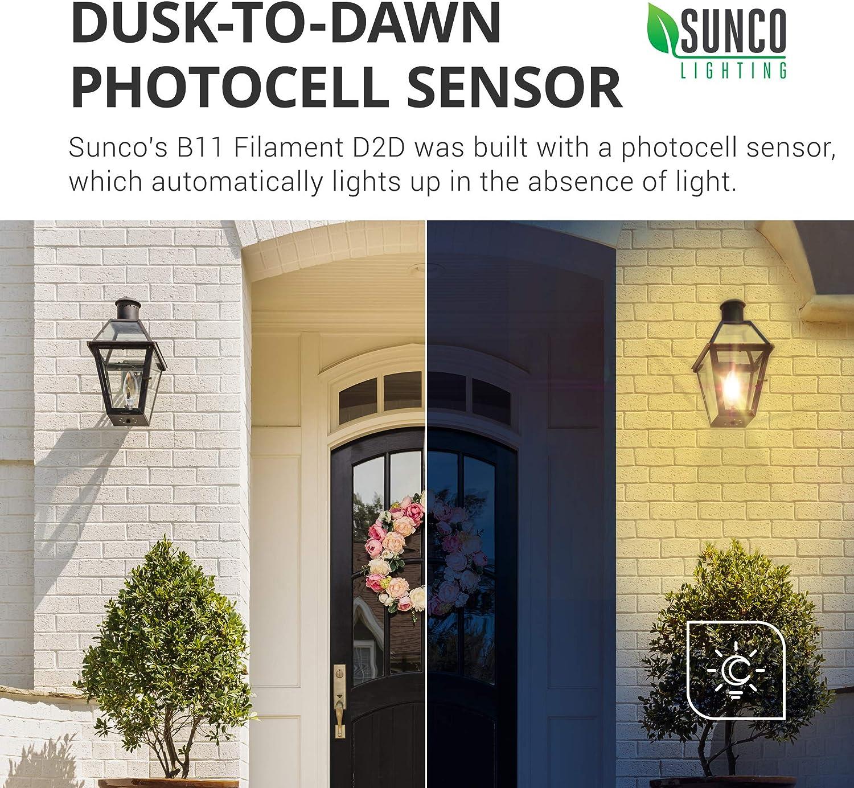 Sunco Lighting 10 Pack B11 LED Candelabra Bulb UL E12 Base Dusk-to-Dawn 3000K Warm White Outdoor Decorative Light for Sconces 5W=40W Filament 500 LM