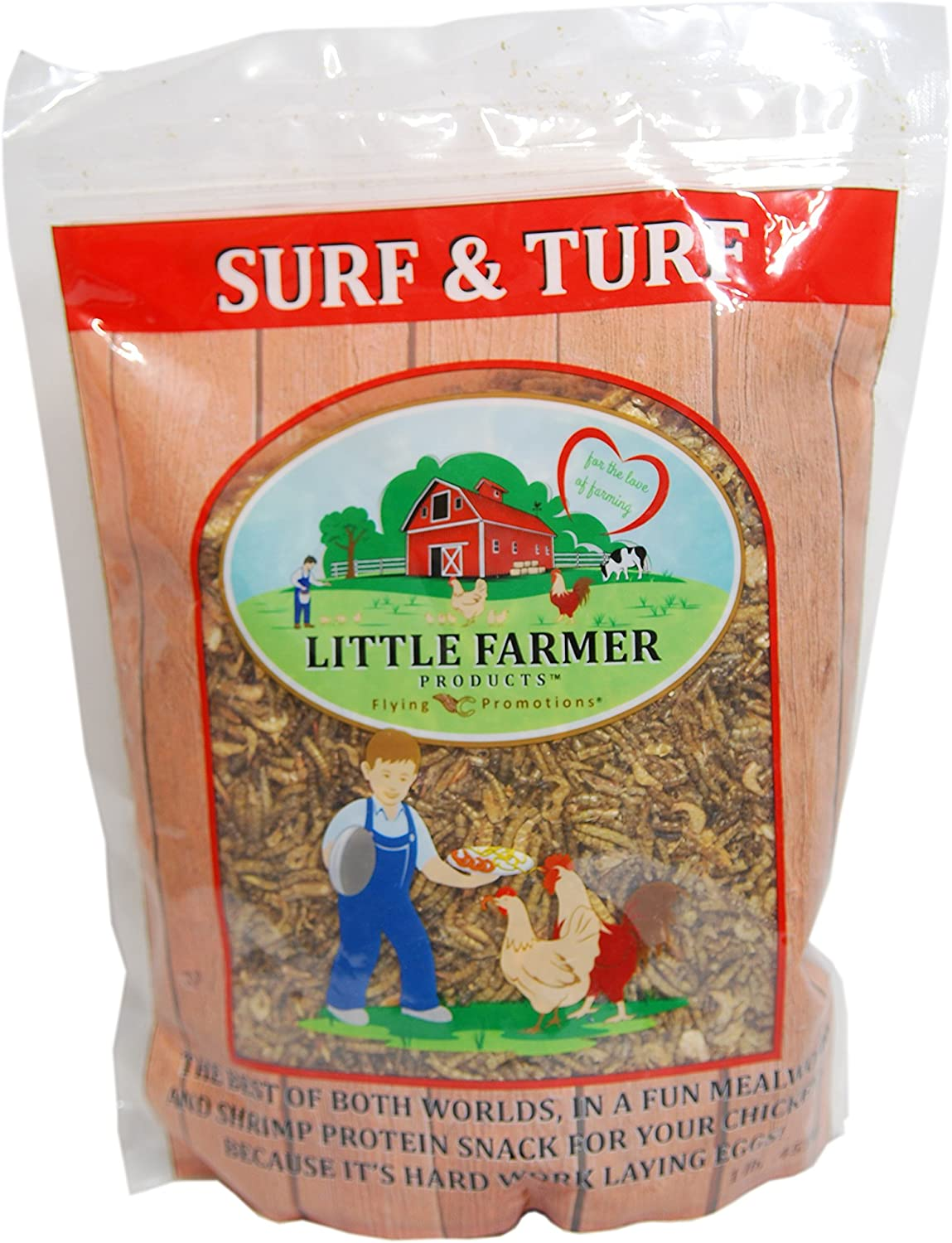 LITTLE FARMER PRODUCTS Surf & Turf | Dried River Shrimp & Mealworm Chicken Treat Premium Poultry Mix | 1 lb