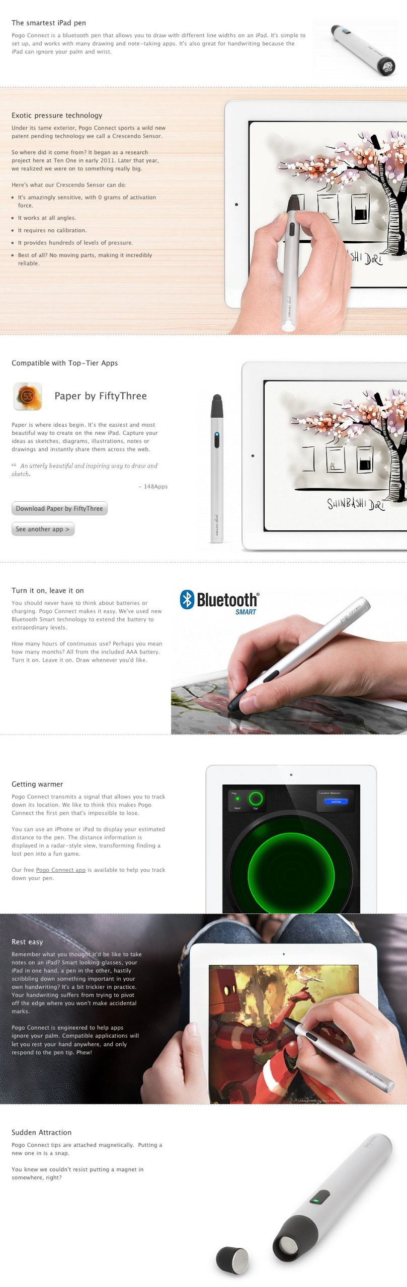 Ten One Design - T1-PGCT-302 - Pogo Connect 1 Bluetooth 4.0 Smart Pen, for iPad 3/4