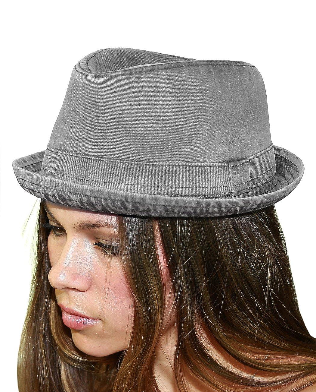 NYFASHION101 Classic Lightweight Cotton Unisex Trilby Fedora Hat