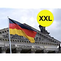 XXXL 450 x 190 cm Deutschlandfahne mit Adler Fanartikel Deutschlandflagge Flagge, Fahne Deutschland schwarz rot gold mit Metallösen Ösen zum Aufhängen für WM 2018, Fußball Weltmeisterschaft