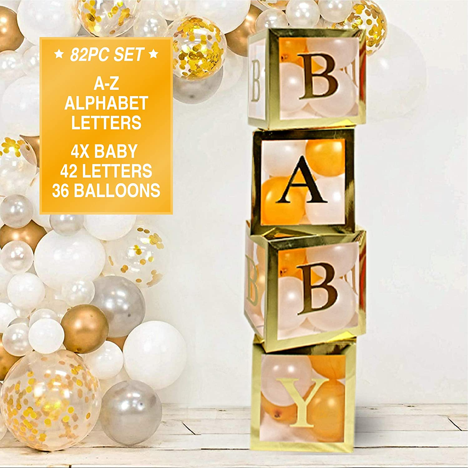 Baby Shower Decorations for Boys Girls,4pcs DIY Gold-Transparent Box with Letters for Gender Reveal Party Supplies Birthday Party Decorations