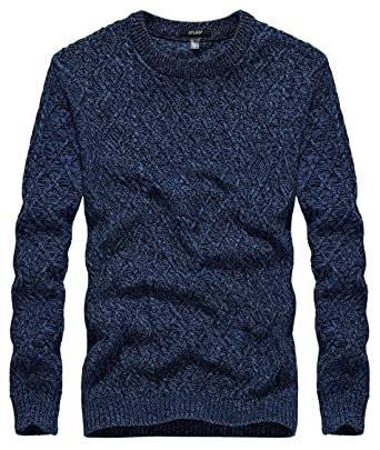 6dcf59d33 chouyatou Men s Essential Heather Crewneck Cable Knit Pullover ...