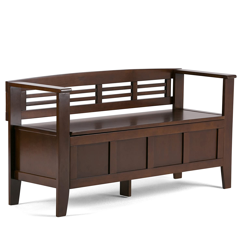 Simpli Home 3AXCADABEN Adams Solid Wood 48 inch wide Rustic Entryway Storage Bench in Rustic Medium Brown