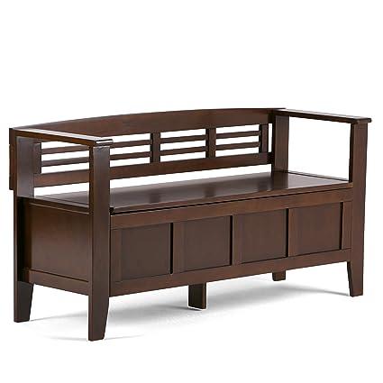 Exceptionnel Simpli Home Adams Solid Wood Entryway Storage Bench, Medium Rustic Brown