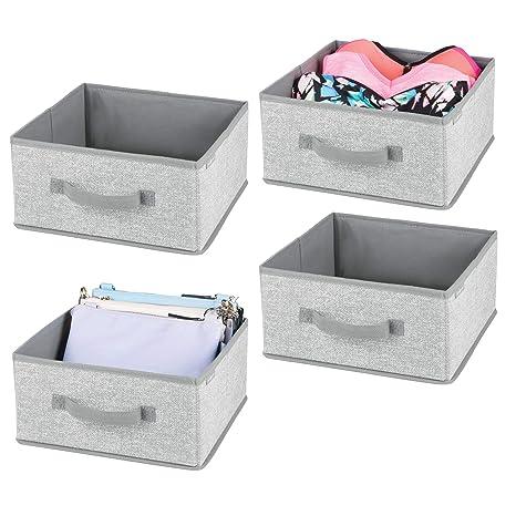 mDesign Juego de 4 cajas organizadoras de fibra sintética – Organizadores para armarios con asa y