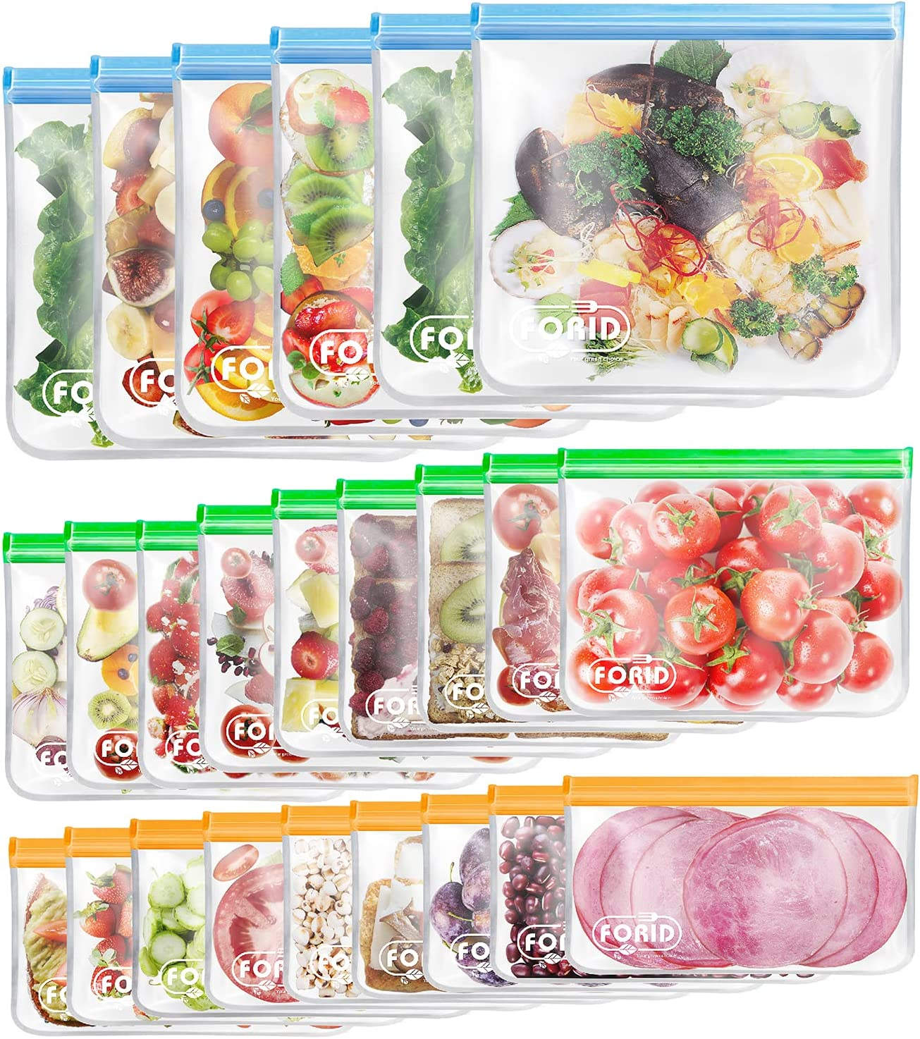24 Pack Reusable Food Storage Bags - Non Plastic & Silicone Gallon Freezer Bags Sandwich Snack Resealable Lunch Bags Extra Thick Leakproof for Marinate Food & Fruit Cereal Travel Items Home Kitchen