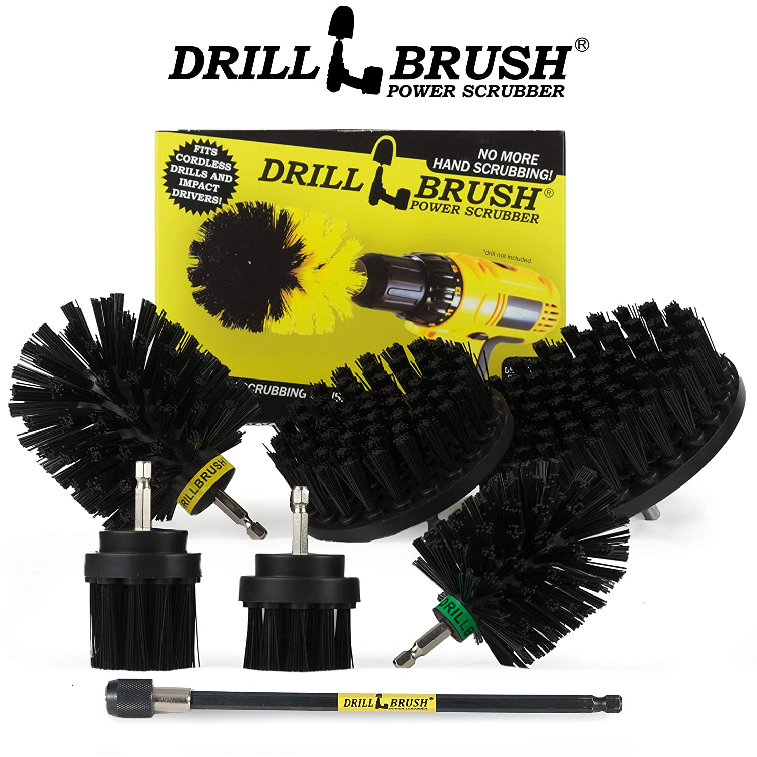 Drillbrush Ultimate Outdoor Cleaning Kit with 7 Inch Extension Granite Cleaner Bird Bath Headstone Stiff Bristle Brush Outdoor Water Fountain Mildew Garden Statues Grout Cleaner Mold