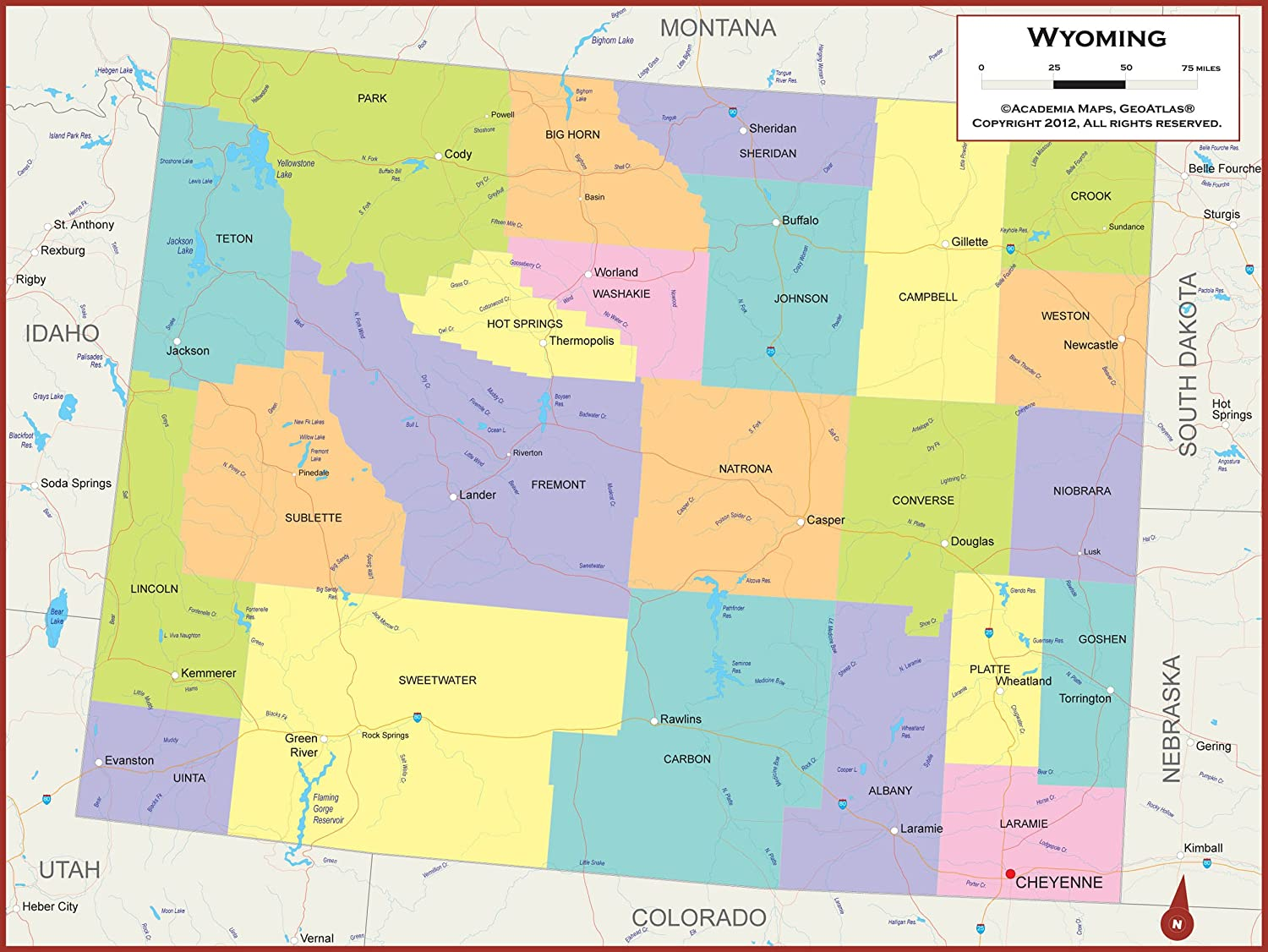 Amazon.com : 42 x 32 Wyoming State Wall Map Poster with Counties ...