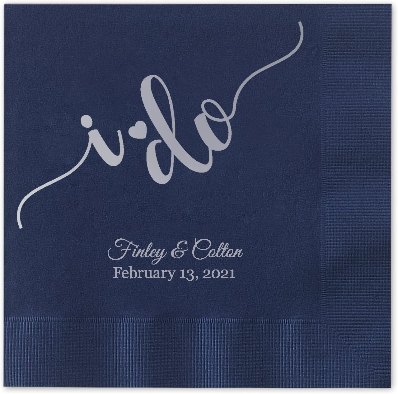 I do Calligraphy Personalized Beverage Cocktail Napkins - 100 Custom Printed Navy Blue Paper Napkins with choice of foil