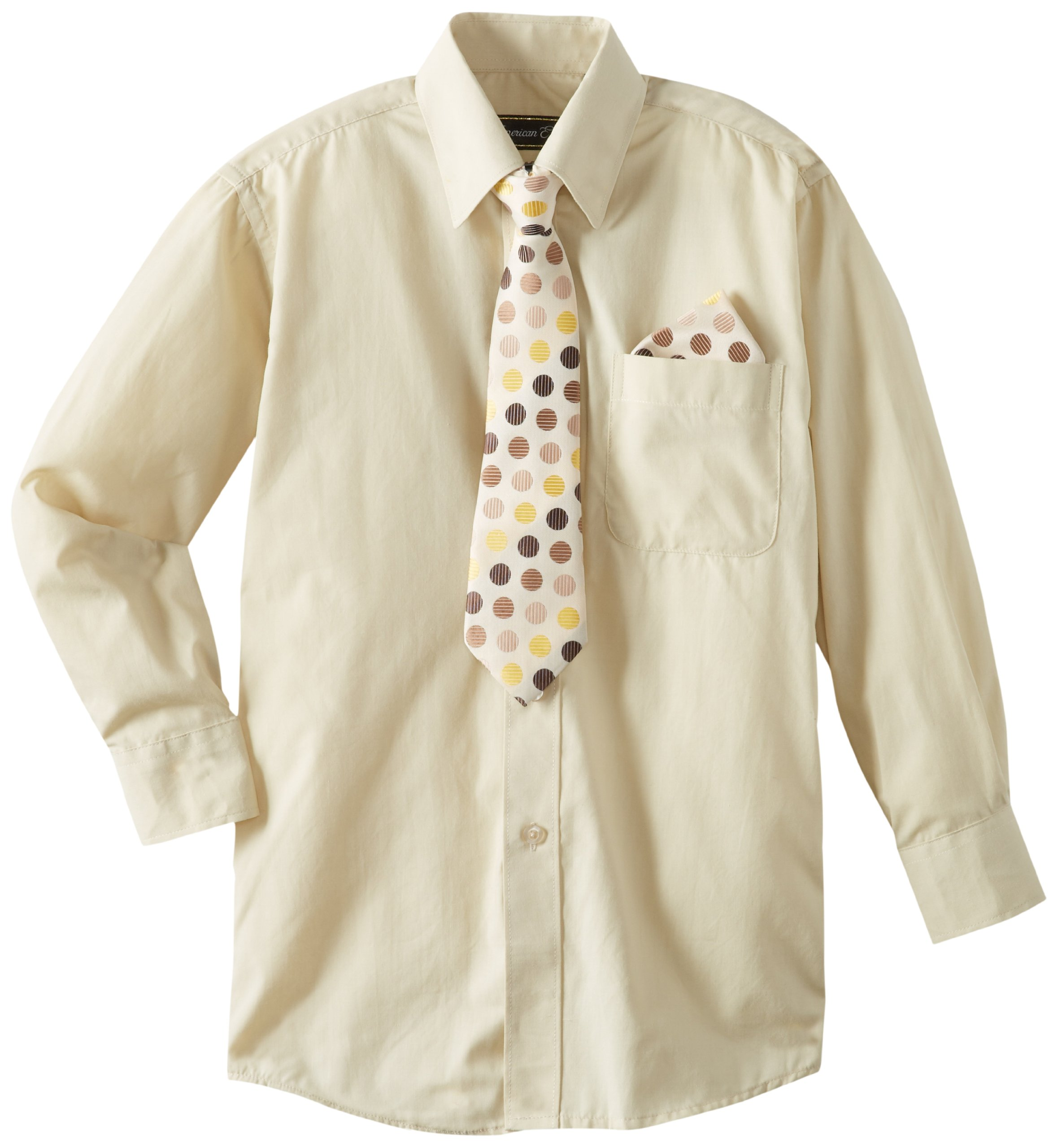 American Exchange Big Boys' Dress Shirt with Tie and Pocket Square, Beige, 14