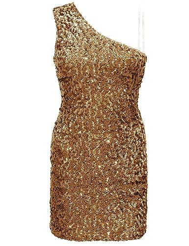 PrettyGuide Women One Shoulder Sequins Glitter Short Mini Party Dress