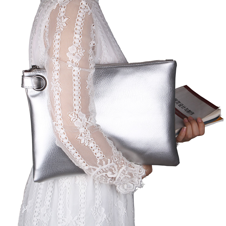 Aladin Oversized Clutch Bag Purse, Womens Large leather Evening Wristlet Handbag (Silver)