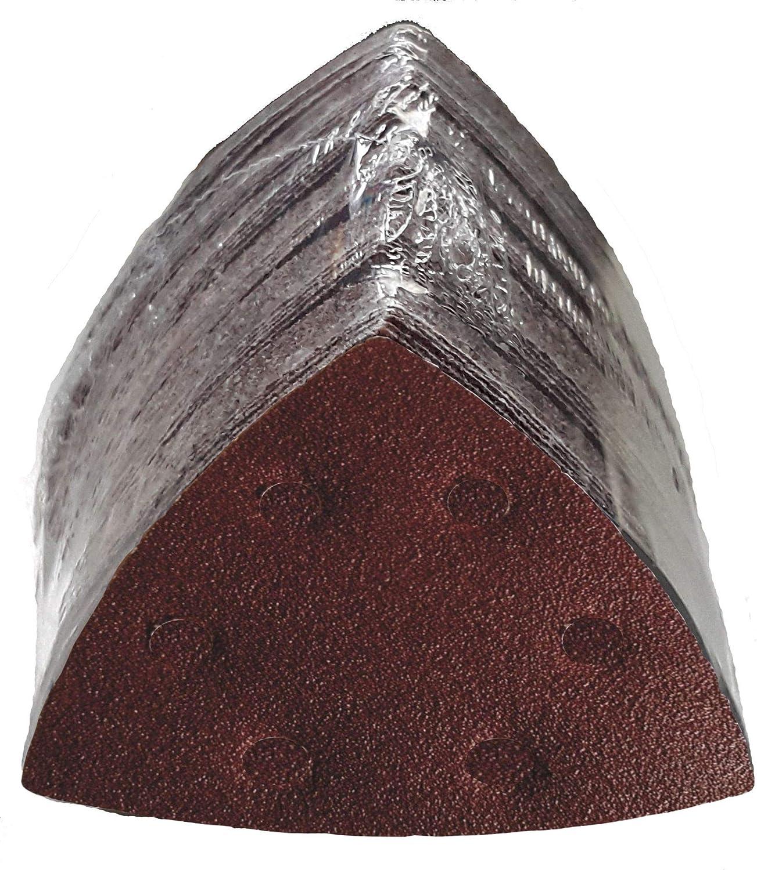 100 Pi/èce Triangles de meulage Velcro 93x93x93 mm Grain 120 pour Ponceuses Delta 6 Trous