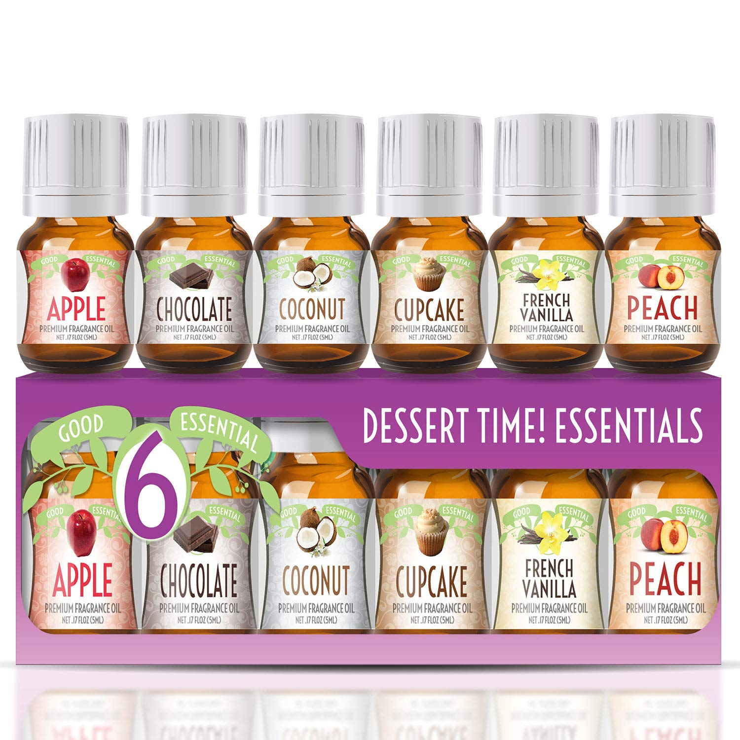 Fragrance Oils Set of 6 Scented Oils from Good Essential- Apple Oil, Chocolate Oil, Coconut Oil, French Vanilla Oil, Peach Oil, Cupcake Oil: Aromatherapy, Perfume, Soaps, Candles, Slime, Lotions!