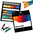 Ohuhu Acrylic Paint Tubes Set - 24x Rich Pigment Colors (12 ml, 0.42 oz.) - 6 x Art Brushes - for Painting Canvas, Clay, Wood,Ceramic & Crafts, Non-Toxic & Quick Dry - for Kids Adults,Back To School