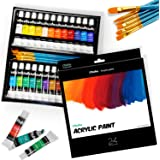 Ohuhu Complete Acrylic Paint Set – 24х Rich Pigment Colors – 6 x Art Brushes – for Painting Canvas, Clay, Ceramic & Crafts, Non-Toxic & Quick Dry – for Kids & Adults Christmas Gifts