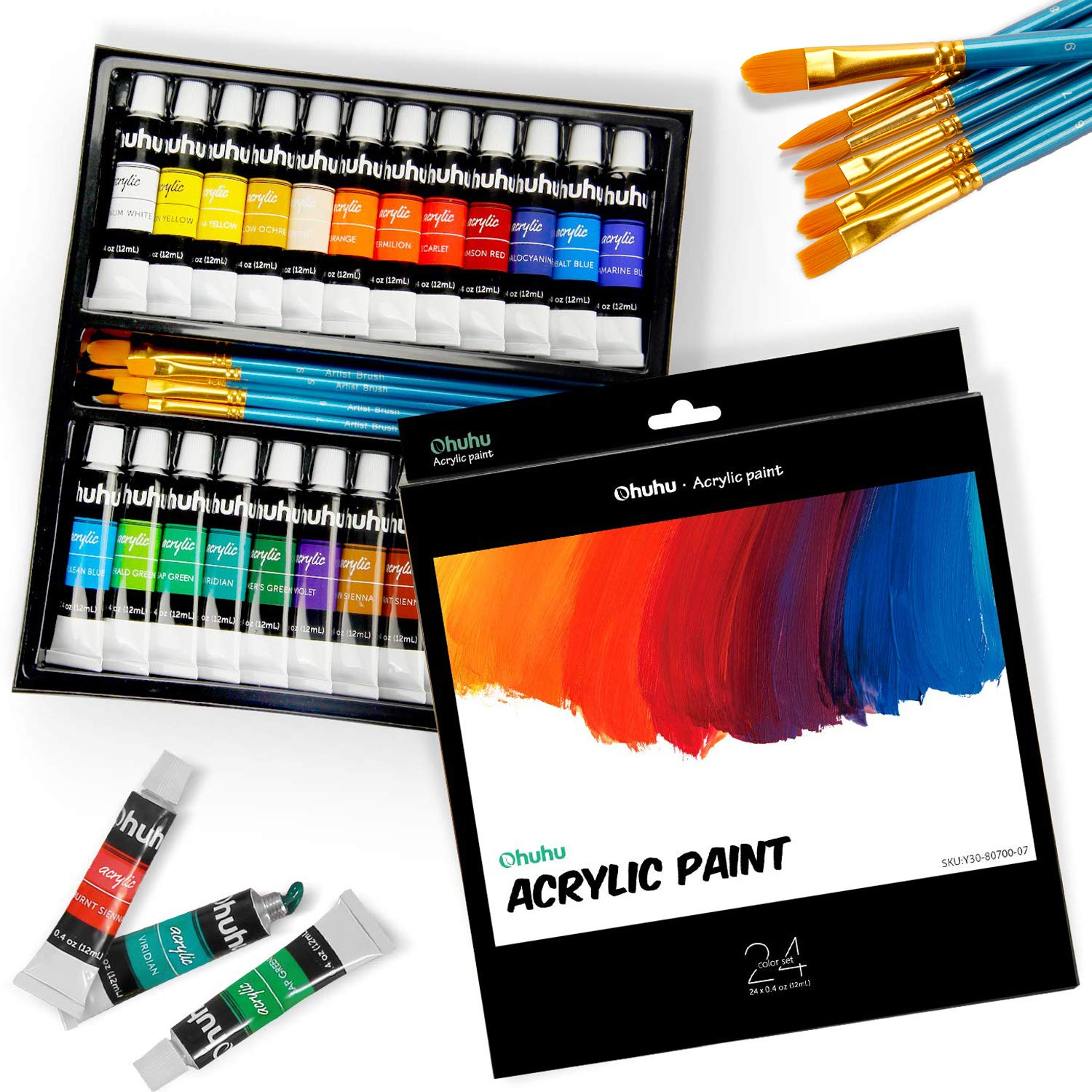 Ohuhu Complete Acrylic Paint Set - 24х Rich Pigment Colors - 6 x Art Brushes - for Painting Canvas, Clay, Ceramic & Crafts, Non-Toxic & Quick Dry - for Kids & Adults Christmas Gifts by Ohuhu