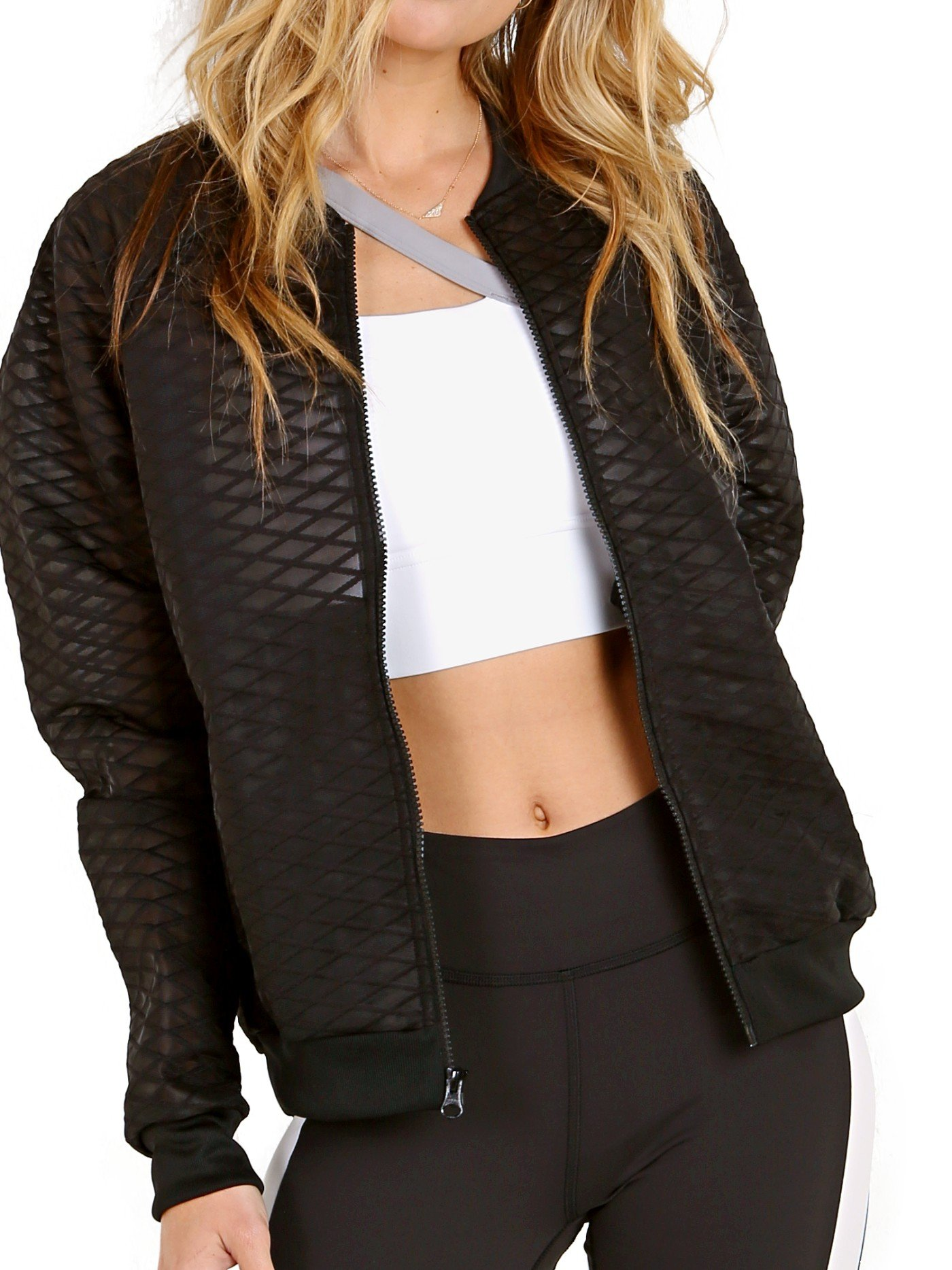 Reebok Women's Mesh Bomber Jacket, Black, Small