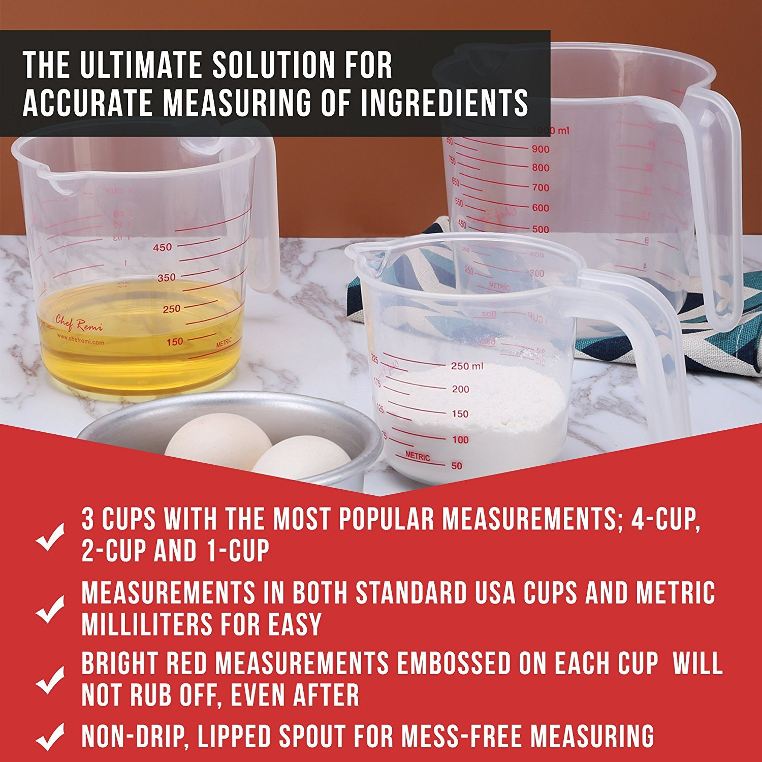 Latest 3pc Measuring Cups Set - Multi Function 4-Cup, 2-Cup and 1-Cup Capacity BPA-Free Measuring Cups With Angled Grip - Essential Bakeware/Prepware Accessories by Chef Remi (Image #3)