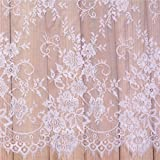 """3 Yards French Eyelash Lace Fabric Floral Embroidered Lace Fabric for Clothes Wedding Dress Sewing Home Decor (59""""W x 3 Yards"""