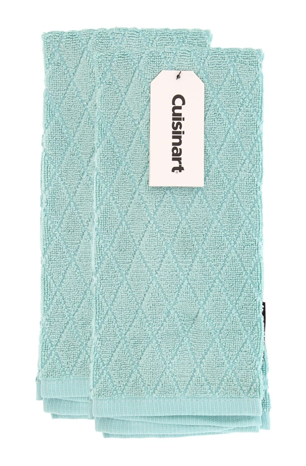 Cuisinart Bamboo Kitchen Towels - Ultra Soft, Absorbent and Anti-Microbial - Perfect for Drying Hands and Dishes - Premium Bamboo/Cotton Fiber Blend - Aqua, Set of 2, 16 x 26, Diamond Pattern
