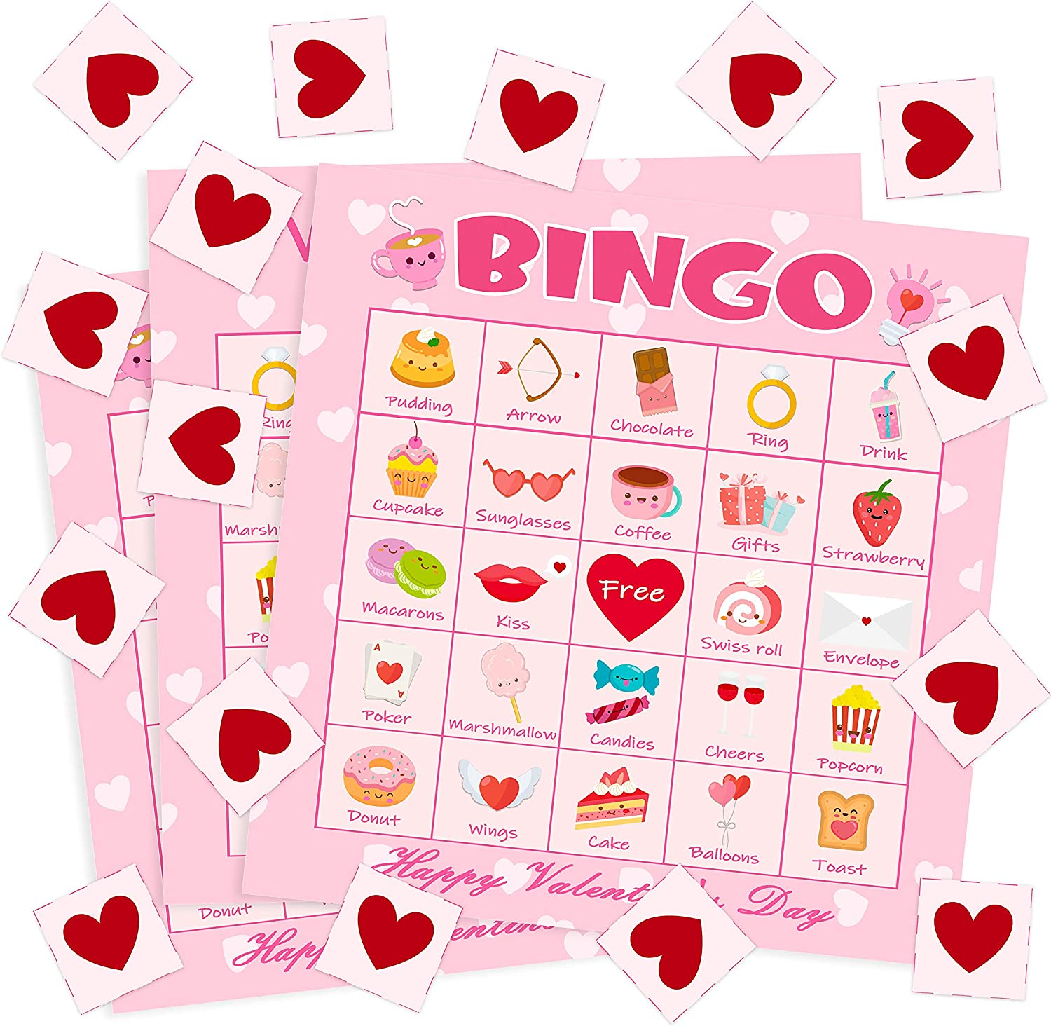 Family /& Kids,Valentines Day School Classroom /& Family Activities Crafts,Valentines Day Party Games Favors Supplies-Pink FUNNISM Valentines Day Bingo Game Cards,24-players Bingo Card Games for Adults