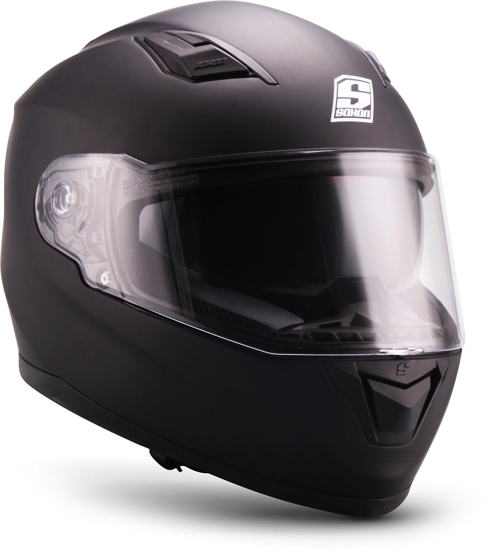 """53-54cm Soxon/® ST-1000 Race /""""Black/"""" /· Integral-Helm /· Full-Face Motorrad-Helm Roller-Helm Scooter-Helm Cruiser Sturz-Helm Street-Fighter-Helm Sport MTB /· ECE Sonnenvisier Schnellverschluss Tasche XS"""