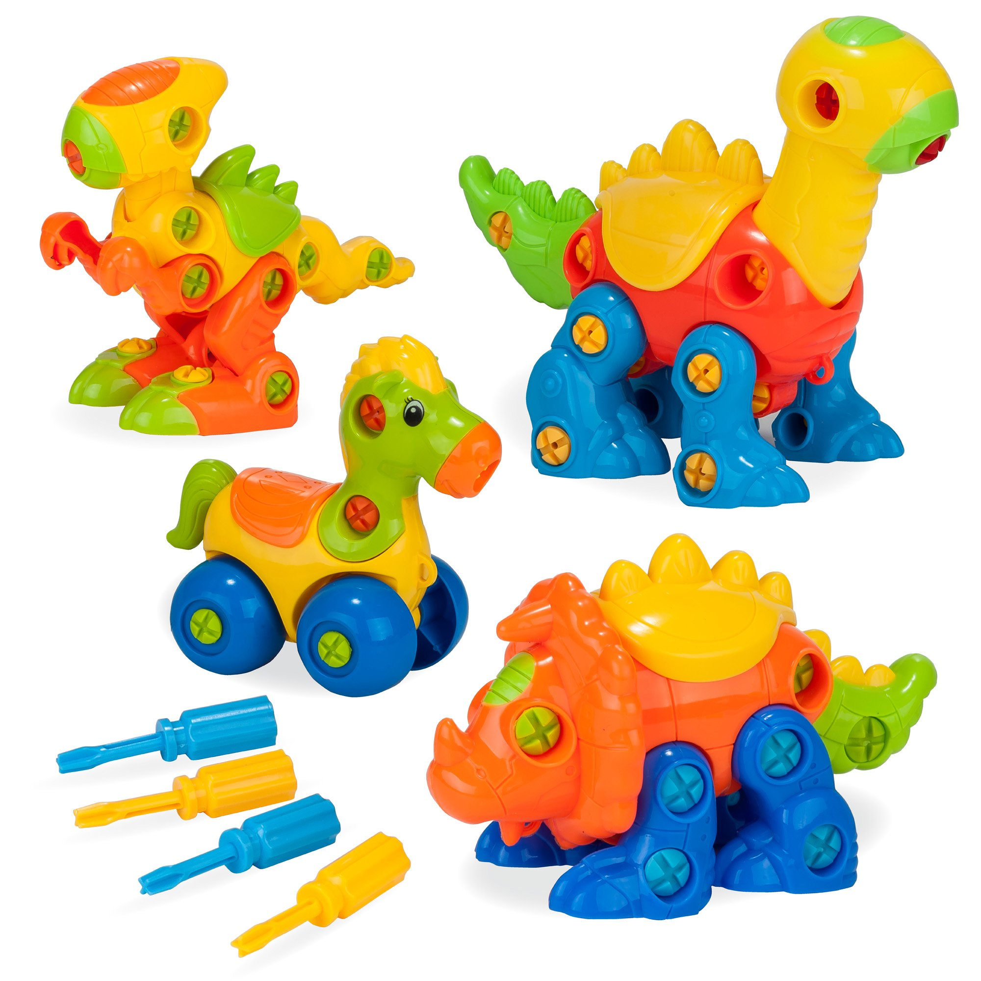 Creative Kids Build & Learn Dinosaur Toys - Interlocking Model STEM Play Set for Kids w/4 Buildable Dinosaurs & 4 Screwdriver Tools - Educational Construction Kit for Preschool, Kindergarten, Age 3+
