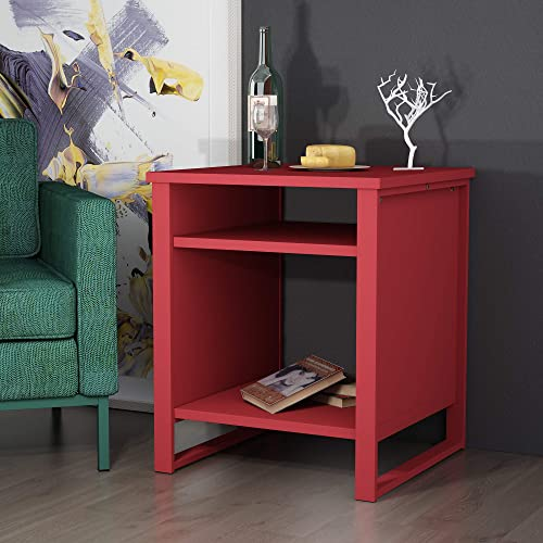 Allewie Red Accent Table/Nightstand /3-Tier Side Table/Metal Square End Table