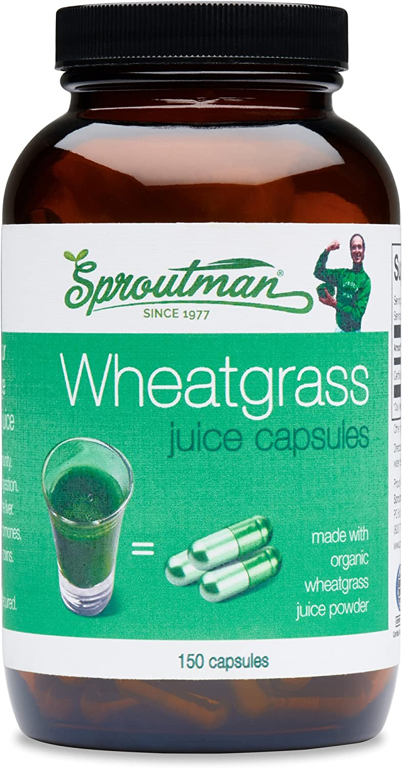 Organic Wheatgrass Juice Powder Capsules by Sproutman - 100% Pure Wheatgrass- Boosts Metabolism, Aids Digestion - High in Vitamins, Antioxidants, Chlorophyll, Enzymes, Minerals & Energy (150 Pills)