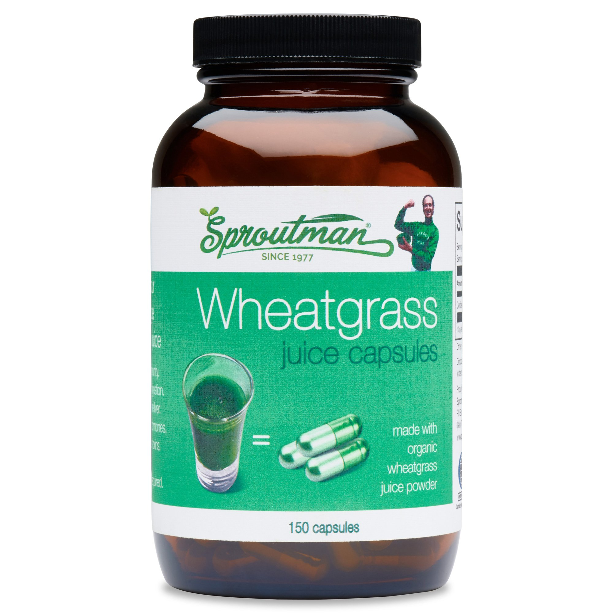 Sproutman Wheatgrass Juice Capsules – Organic Wheatgrass Juice Powder in Caps for Hassle-Free Wheatgrass Shots High in Vitamins, Antioxidants, Chlorophyll, Live Enzymes, Minerals & Energy, 50 servings
