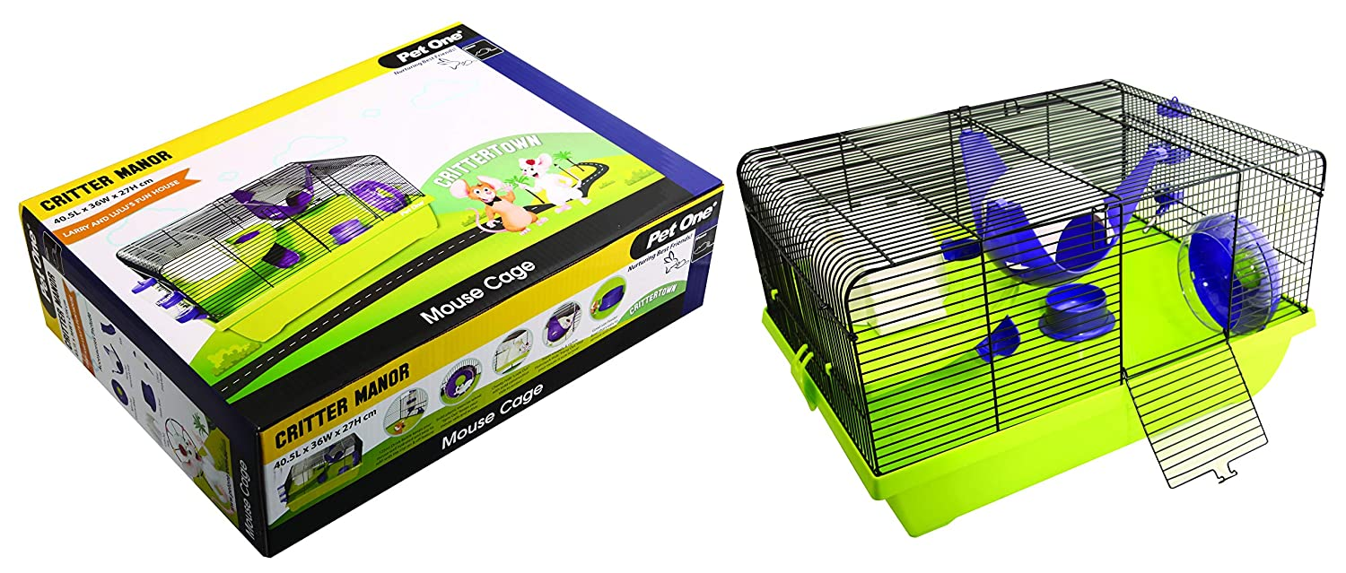 Critter Manor Mouse Wire Cage 40.5L X 36W X 27cm H Purple Green (Pet One)