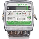 Techno Single Phase Static Energy Meter with LCD upto 40Amps