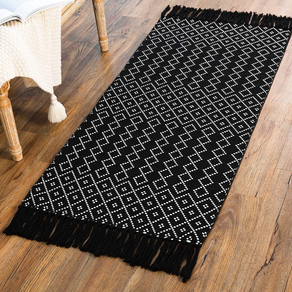Black Woven Rug Kitchen, Boho Bathroom Rug with Tassel, Small Cotton Bath Mat with Geometric Diamond Woven Pattern for Bedroom Living Room Vintage Accent Chic Reversible Rug 2'x4.3'