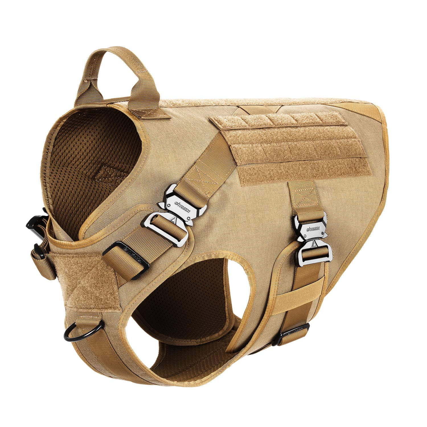 ICEFANG Tactical Dog Harness,K9 Working Dog Vest,No Pulling Front Clip Leash Attachment (XXL (36''-44'' Girth), Coyote Brown-4x Metal Buckle)