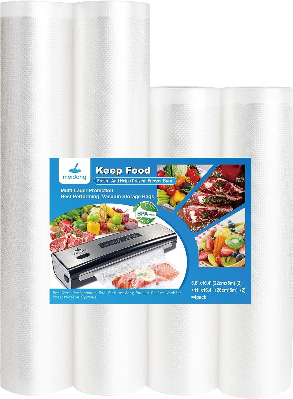 Vacuum Sealer Bags, Meidong Food Saver Vacuum Sealer Rolls - 4Packs in 8.6