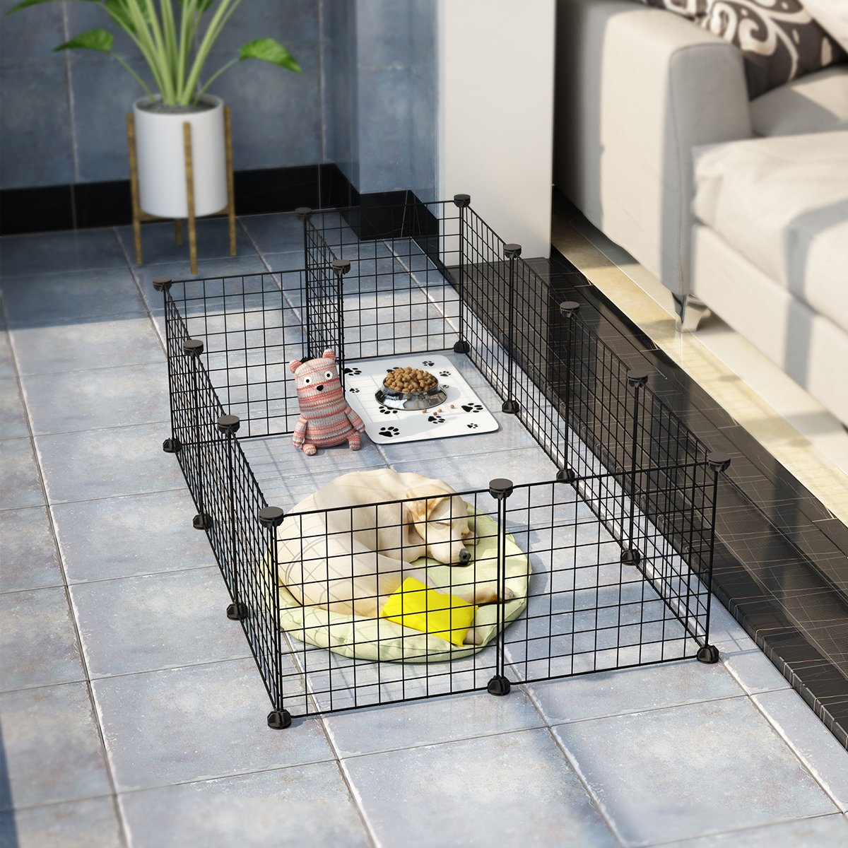 LANGRIA 24 pcs Metal Wire Storage Cubes Organizer, DIY Small Animal Cage for Rabbit, Guinea Pigs, Puppy | Pet Products Portable Metal Wire Yard Fence (Black) by LANGRIA (Image #2)