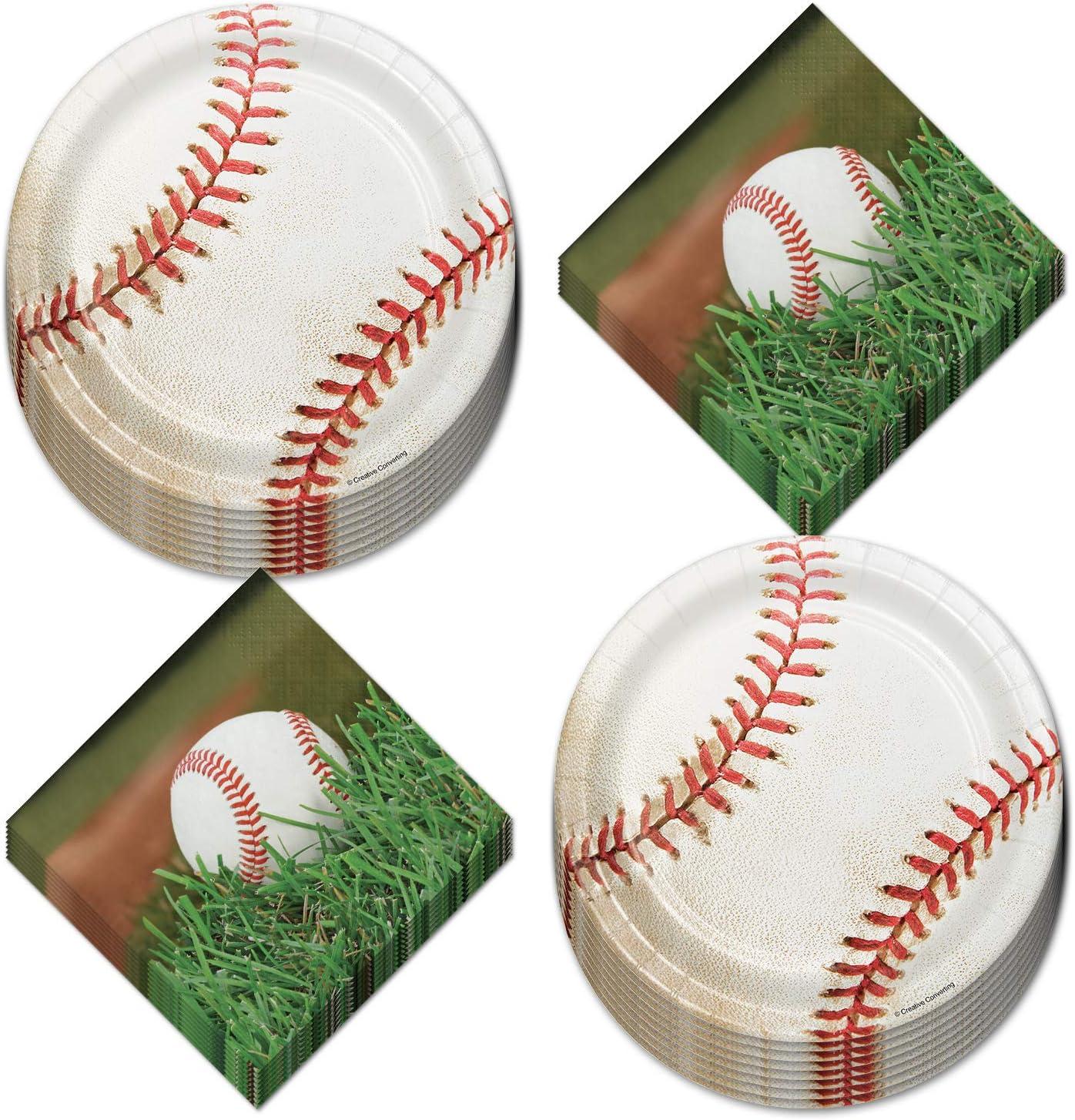 Baseball Party Supplies - Dessert Plates and Napkins (Serves 16)