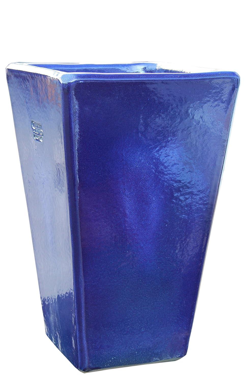 Großer Pflanztopf Pflanzkübel eckig frostsicher Größe L 30 x B 30 x H 50 cm, Farbe effekt blau, Form 150.050.64 Pflanzkübel quadratisch Qualität von Hentschke Keramik