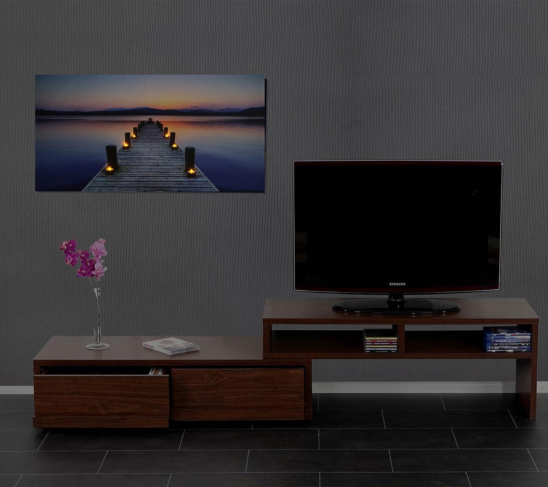 Mendler Poster LED a Pile con Timer Legno con Stampa in Tessuto 2,5x110x55cm Pier