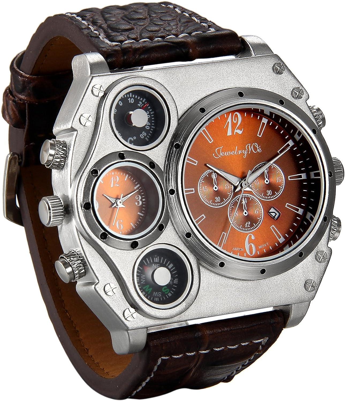 Jewelrywe Reloj Ronda Geniales Pantalla Brújula Termómetro Dual Time Dial,Regalos Dia de la Padre Originales