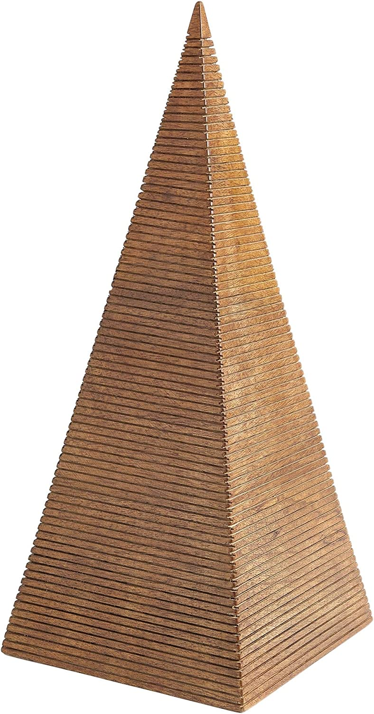 Global Views Elegant Minimalist Solid Wood Ribbed Pyramid Sculpture Architectural Shape