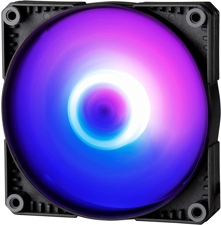 Phanteks SK120 DRGB PWM Fan (PH-F120SK_DRGB_PWM) – 120mm Fan, high Airflow Nine-Blade Design, Digital RGB Lighting, Rubber dampening washers - Black
