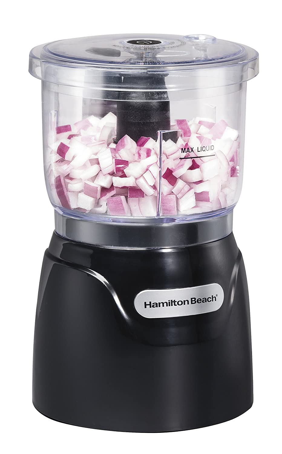Hamilton Beach Mini 3-Cup Food Processor Vegetable Chopper, 350 Watts, for Dicing, Mincing, and Puree, Black 72850