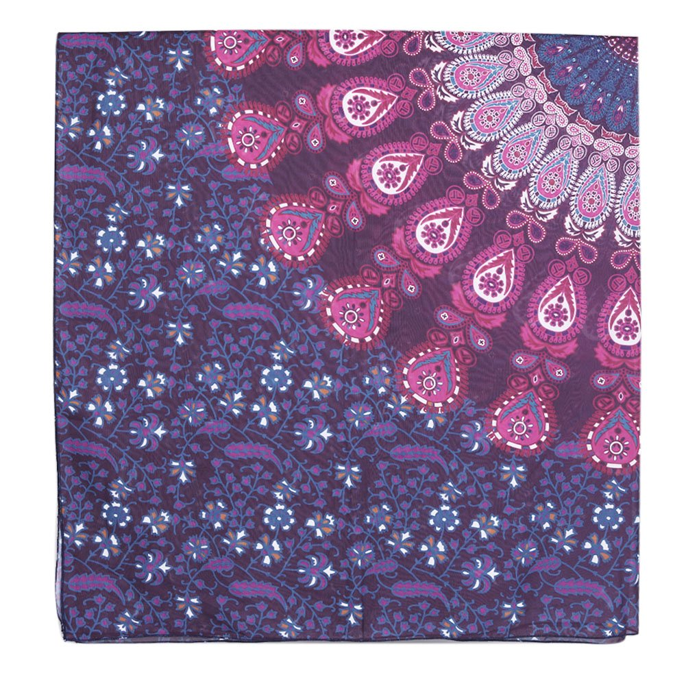 HanSemay Indian Mandala Round / Square Gypsy Wall Hanging, Boho Gypsy Cotton Tablecloth Beach Towel , Decorative Wall Hanging Round , Meditation Yoga Mat , Beach Sheet, Table Cloth (Purple)