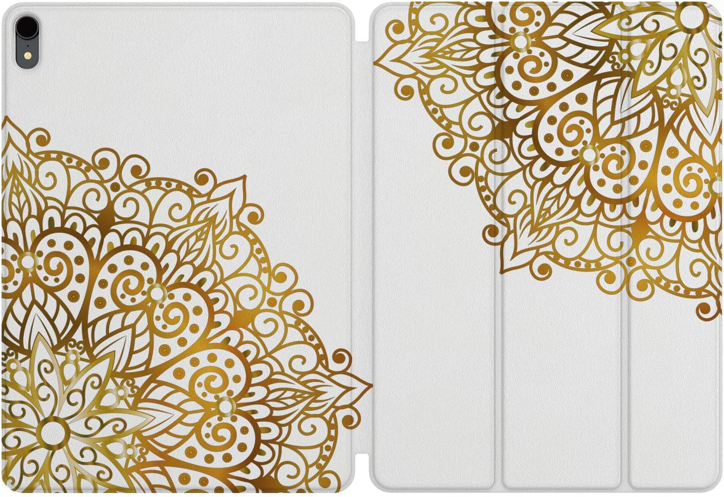 Lex Altern iPad Case Pro 11 inch 12.9 Magnetic Cover 2019 2018 3D Generation Apple Protective Hard Shell Folio Trifold Smart Auto Wake Sleep Pencil Boho Gentle Mandala Black Pattern Girl Print Stand
