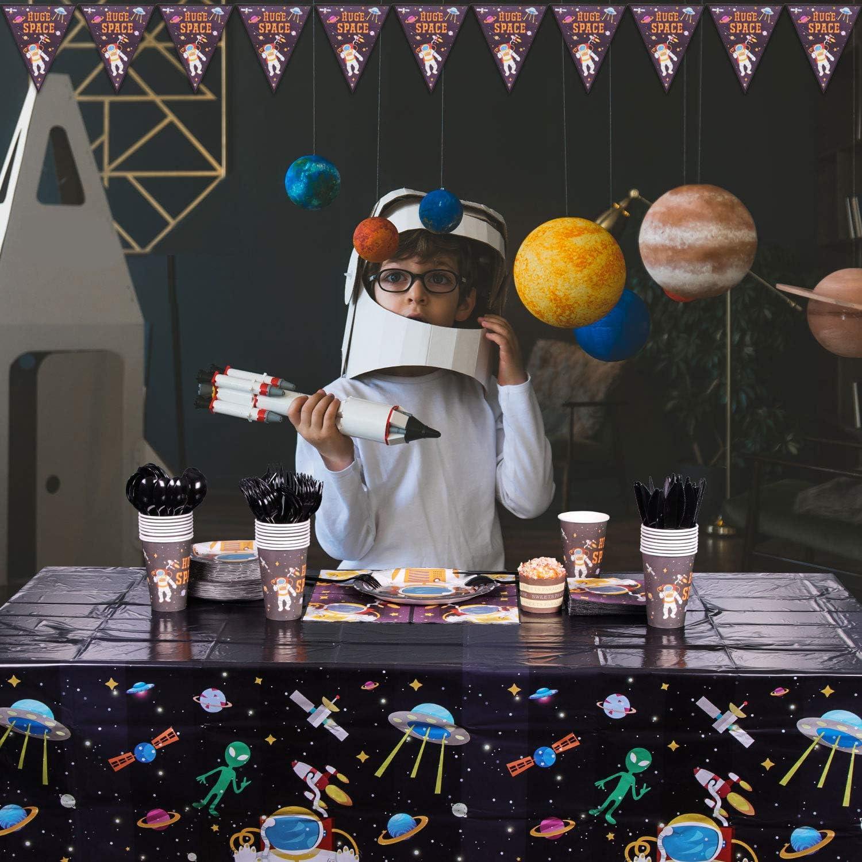 Espacio Exterior Suministros 177PCS Vajilla desechable Tema de Astronauta Planeta Incluye Platos Vasos Servilletas Cucharas Tenedores Cuchillos Mantel y Banner Sirve para 25 para Kids Birthday