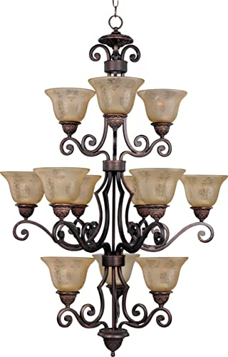 Maxim Lighting 11238SAOI Symphony – Twelve Light Three Tier Chandelier, Oil Rubbed Bronze Finish with Screen Amber Glass
