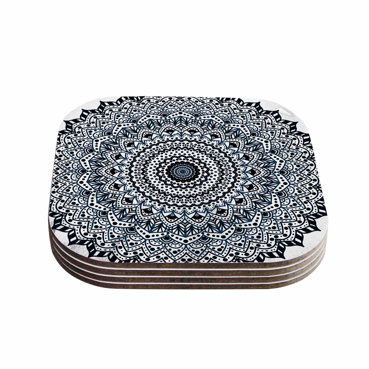 4 x 4 Multi Set of 4 KESS InHouse Nika MartinezBoheme Dream Mandala Black Blue Illustration Coasters